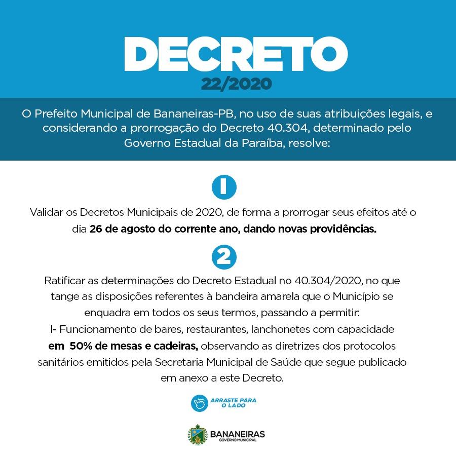 Novo Decreto permite retorno de bares, restaurantes e lanchonetes com 50% da sua capacidade