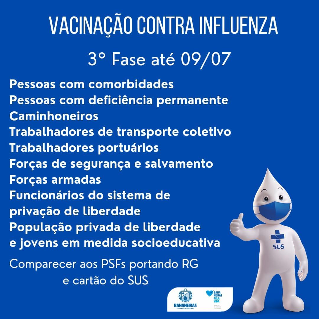 Iniciada a terceira etapa de imunização contra a influenza (gripe) no município de Bananeiras